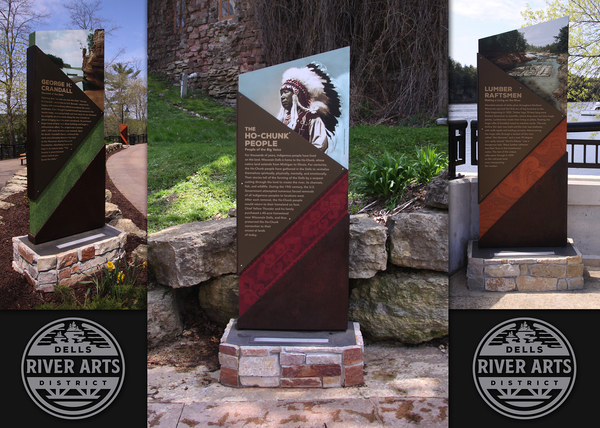 A Ten Sign Project in Wisconsin Dells telling some of the History of Life along the River.  Design by Zebra Dog - Fabrication and Install by Michael's Signs.